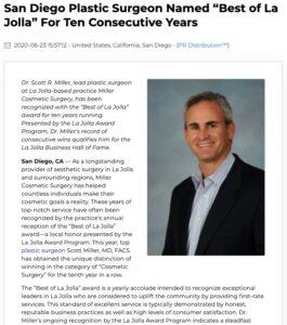 Plastic Surgeon Scott Miller, MD Wins Best of La Jolla Award For Ten Years
